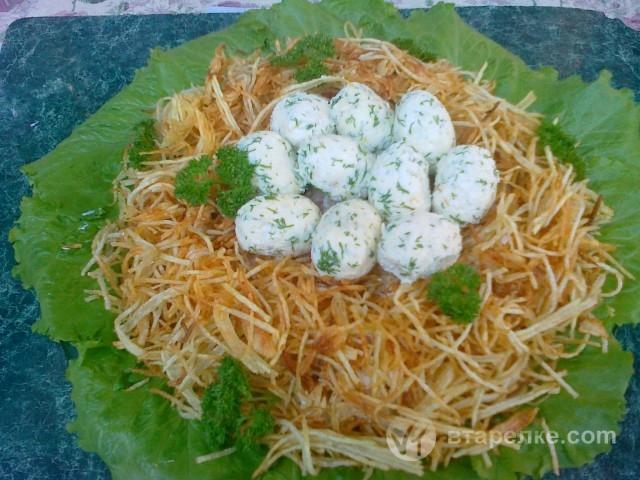 Рецепты салата гнездышко